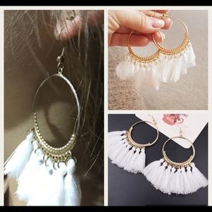 Jewelry - 💕New! White boho statement tassel hoop earrings💕